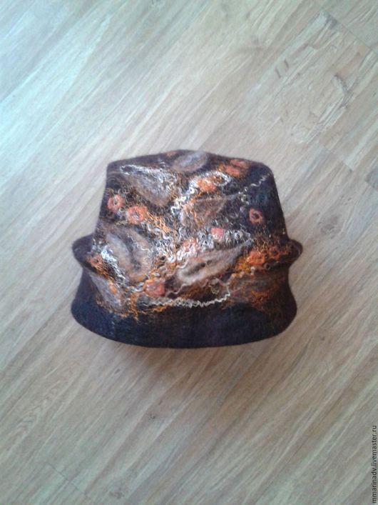 Валяная шапка `Отголоски осени`, шерсть 100%. Авторская работа Марины Маховской. Головные уборы ручной работы