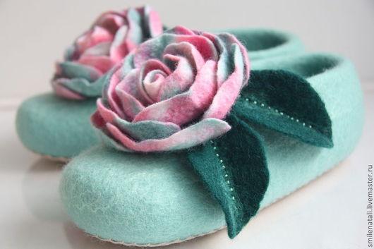 """Обувь ручной работы. Ярмарка Мастеров - ручная работа. Купить Тапочки """"Мятный соблазн"""". Handmade. Мятный, подарок на любой случай"""