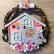 Подарки к праздникам ручной работы. Ярмарка Мастеров - ручная работа Венок интерьерный Sweet Home. Handmade.