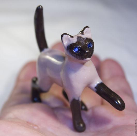 Миниатюра ручной работы. Ярмарка Мастеров - ручная работа. Купить Сиамская кошка. Handmade. Кот, полимерная глина