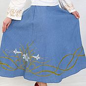 Юбки ручной работы. Ярмарка Мастеров - ручная работа Синяя юбка с лилиями. Handmade.