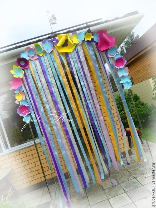 Свадебные аксессуары ручной работы. Ярмарка Мастеров - ручная работа. Купить Арка с лентами и бумажными цветами. Handmade. Разноцветный