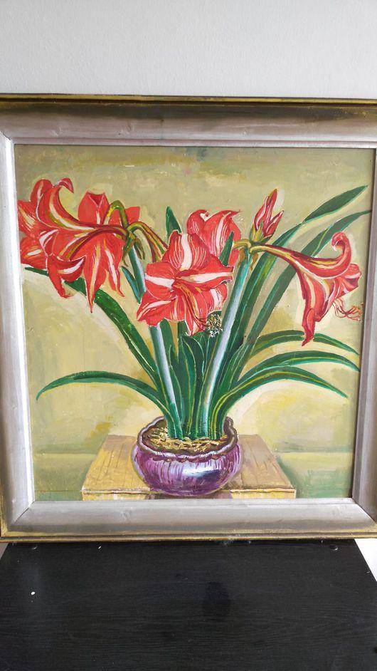 Картины цветов ручной работы. Ярмарка Мастеров - ручная работа. Купить Цветы. Handmade. Ярко-красный, картина в подарок, масло