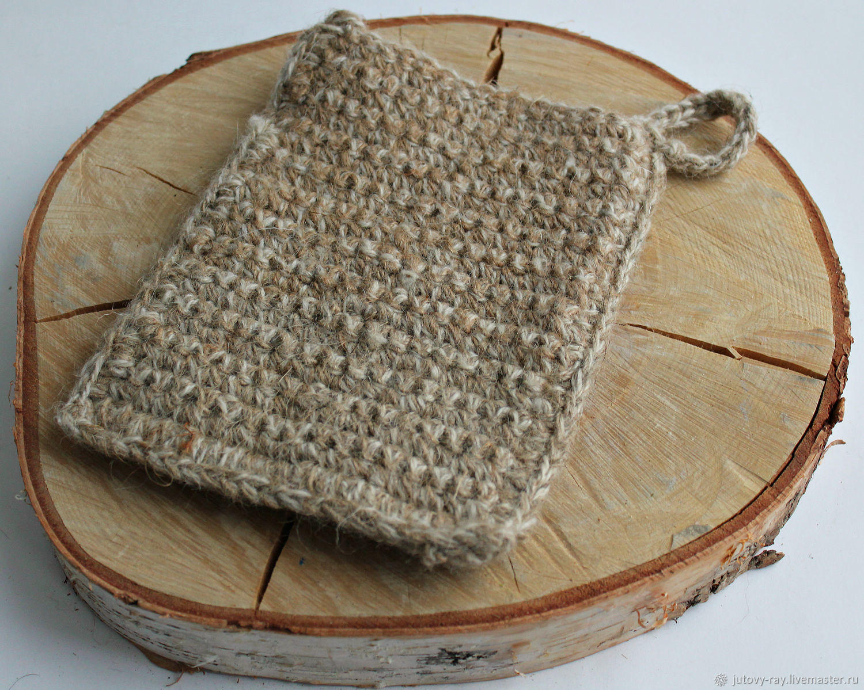 The sponge-mitten from hemp and sheep's wool 'Sheep konopel'ka', Washcloths, Vologda,  Фото №1
