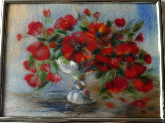 """Картины цветов ручной работы. Ярмарка Мастеров - ручная работа. Купить картина из шерсти """"Маки"""". Handmade. Ярко-красный, шерсть"""