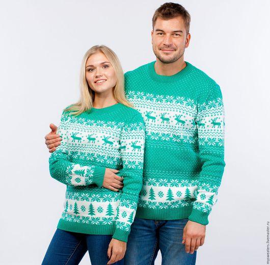 """Кофты и свитера ручной работы. Ярмарка Мастеров - ручная работа. Купить Свитер """"Новогодние олени"""" из шерсти зеленый. Handmade."""