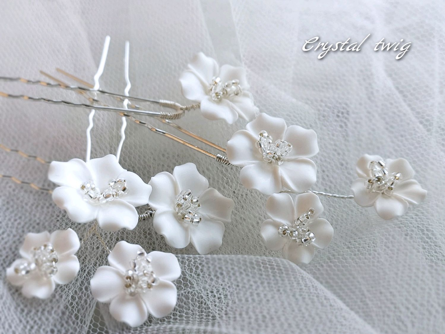 Set of flower hairpins for hairstyles and brides, Hair Decoration, Moscow,  Фото №1