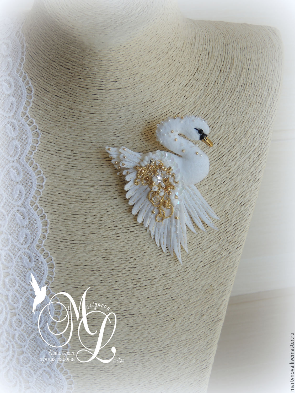 brooch. Miniature brooch Swan 'Golden wing', Brooches, Omsk,  Фото №1
