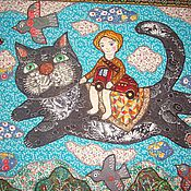 """Для дома и интерьера ручной работы. Ярмарка Мастеров - ручная работа И снова  панно"""" Все спешим на карусель""""  с котиком.. Handmade."""