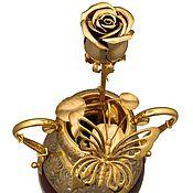 Для дома и интерьера handmade. Livemaster - original item Golden rose in a vase with butterfly - hand-made souvenir. Handmade.