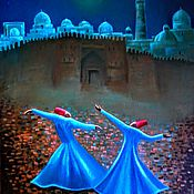 Картины и панно handmade. Livemaster - original item Whirling dervishes at the walls of Bukhara. The painting is exhibited for example.. Handmade.