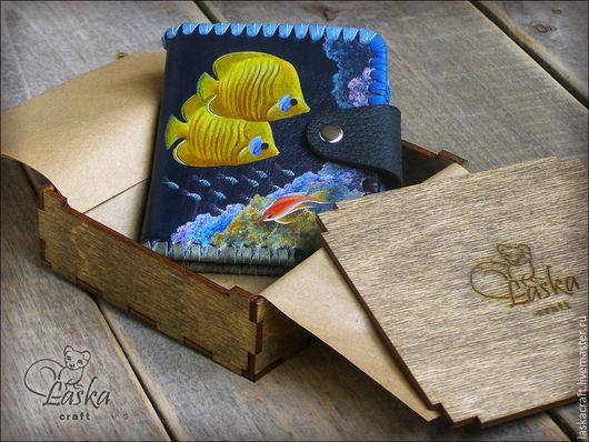 Кошельки и визитницы ручной работы. Ярмарка Мастеров - ручная работа. Купить Кожаный кошелек «Коралловый риф» — подарок, который запомнится. Handmade.