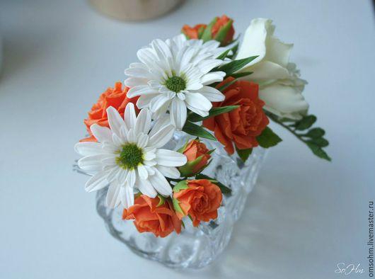 """Заколки ручной работы. Ярмарка Мастеров - ручная работа. Купить Гребень"""" Фрезия, хризантемы, розы"""". Handmade. Разноцветный, ромашковая хризантема"""