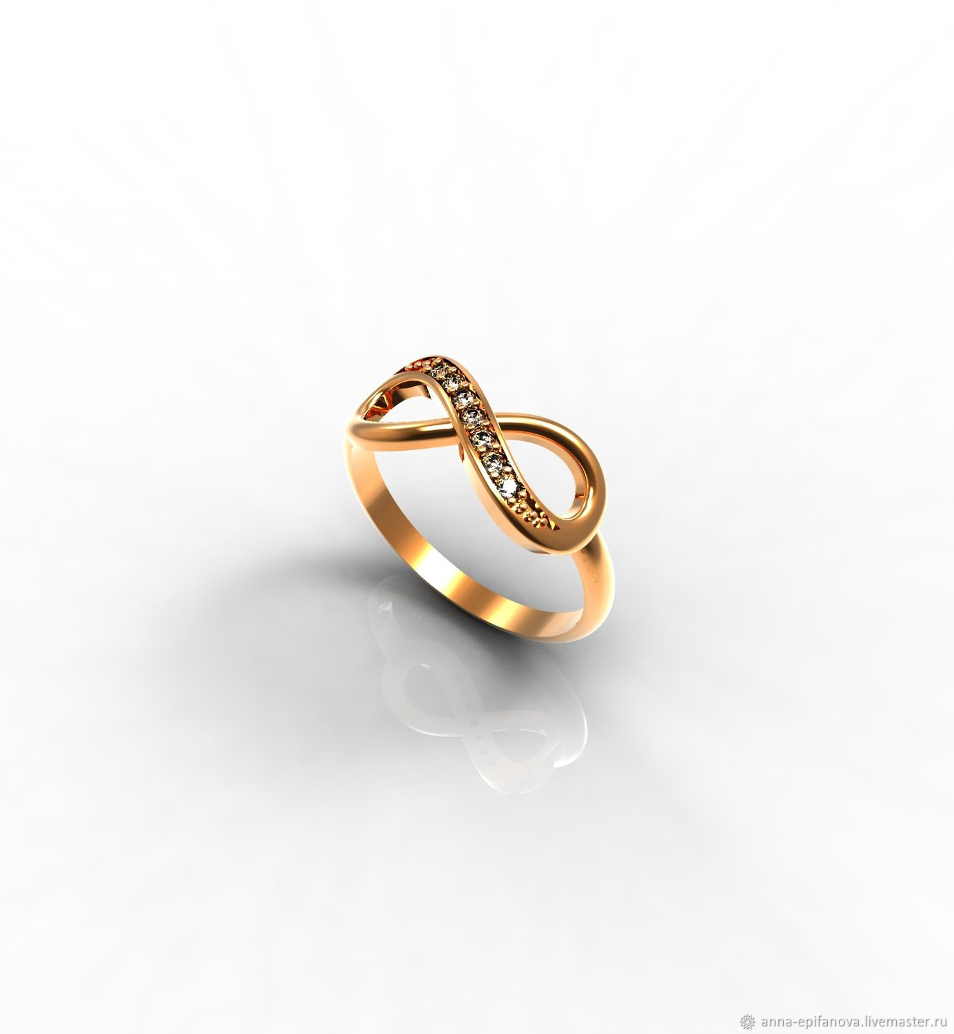 Infinity Gold Ring with Stones (K34), Rings, Chelyabinsk,  Фото №1