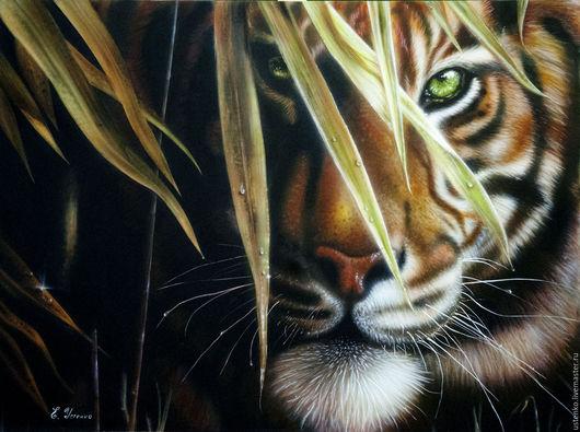 Животные ручной работы. Ярмарка Мастеров - ручная работа. Купить Картина аэрография Тигр. Handmade. Коричневый, тигр, природа, заросли