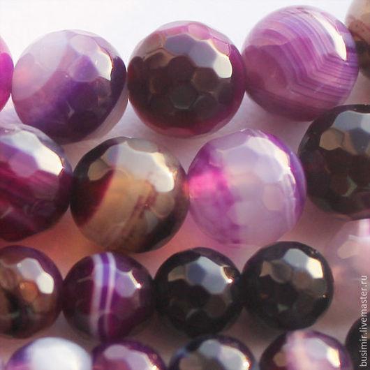 Агат бразильский полосатый, цвет - фиолетовый. Бусины агата 6,8,10 мм, огранка. Агат для создания украшений. Busimir