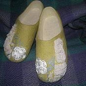 Обувь ручной работы. Ярмарка Мастеров - ручная работа Оливковые тапочки. Handmade.