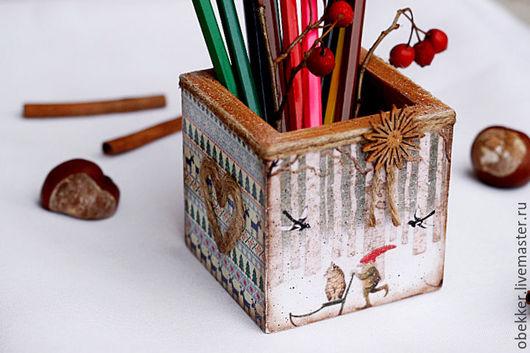 """Карандашницы ручной работы. Ярмарка Мастеров - ручная работа. Купить Карандашница """"Гном и котэ"""". Handmade. Комбинированный, карандашница из дерева"""