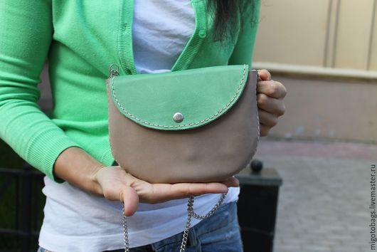 Женские сумки ручной работы. Ярмарка Мастеров - ручная работа. Купить кожаная сумочка на лето ручная работа серо-зеленая. Handmade.