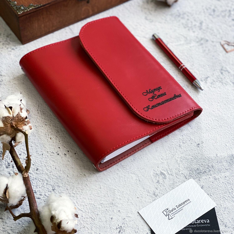 Кожаный красный ежедневник Рошель с нанесением гравировки на обложку, Ежедневники, Москва,  Фото №1