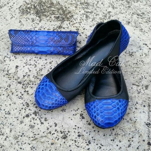 Обувь ручной работы. Ярмарка Мастеров - ручная работа. Купить Балетки из натуральной кожи и кожи питона. Handmade. Разноцветный