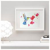 Картины и панно handmade. Livemaster - original item Flower bird painting watercolor. Handmade.