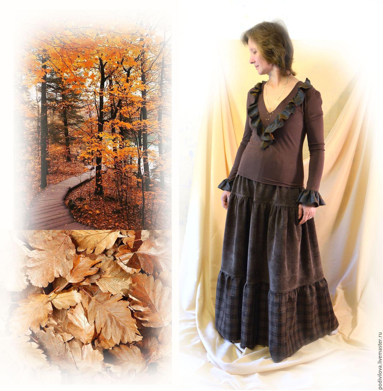 Skirt 'Coziness of autumn' corduroy,long,tiered, autumn,winter, Skirts, Mytishchi,  Фото №1