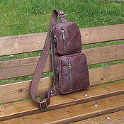 Сумки и аксессуары handmade. Livemaster - original item Men`s leather one shoulder bag GYRFALCON brown. Handmade.