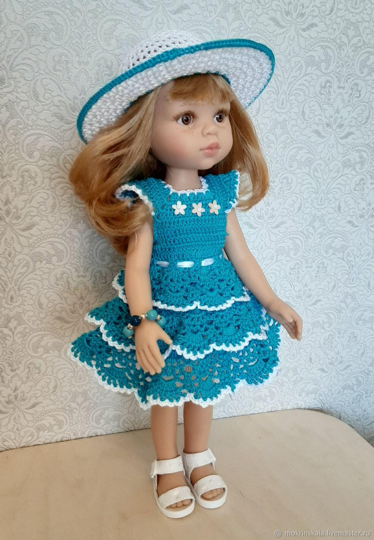 Комплект вязаный: платье и шляпа для Паолы Рейна голубой, Одежда для кукол, Абинск,  Фото №1