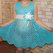 """Одежда ручной работы. Ярмарка Мастеров - ручная работа вязаное платье """"Облачко"""", ажурное платьице, платье крючком. Handmade."""