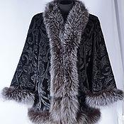 Одежда handmade. Livemaster - original item Clothes made of velvet. Velvet short coat with fur bluefrost. Handmade.
