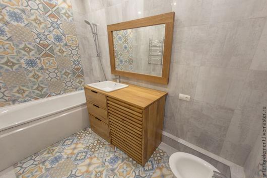 Мебель ручной работы. Ярмарка Мастеров - ручная работа. Купить Тумба в ванную комнату BrickLine. Handmade. Тумба из массива, масло