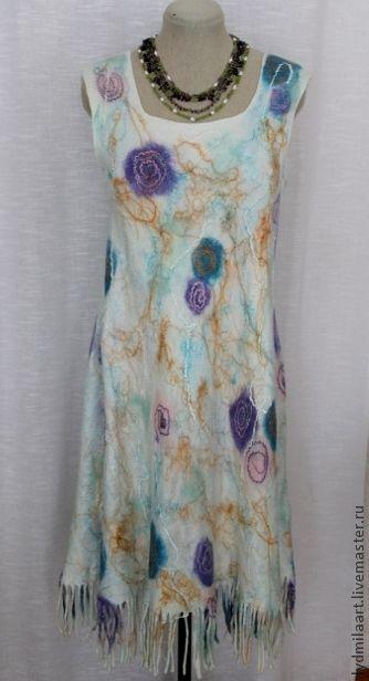 Платья ручной работы. Ярмарка Мастеров - ручная работа. Купить Платье валяное на шёлковой основе «Акварель». Handmade. Белый