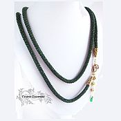 Украшения handmade. Livemaster - original item Lariat dark green Czech bead