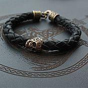 Украшения handmade. Livemaster - original item Leather bracelet - Skull. Handmade.