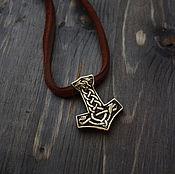 Украшения handmade. Livemaster - original item Bronze pendant Thor`s hammer on a leather cord. Handmade.
