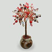 Цветы и флористика handmade. Livemaster - original item Happiness tree made of coral, moonstone and pomegranate. Handmade.