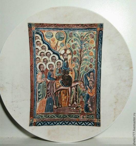 `Вход Иисуса в Иерусалим`Печать ,ручная роспись,керамическая глазурь, тройной обжиг, Принимаем индивидуальные заказы.