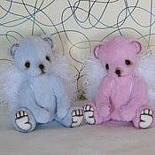 Куклы и игрушки ручной работы. Ярмарка Мастеров - ручная работа Мини Тедди мишки. Ангелы розовый и голубой.12см.. Handmade.