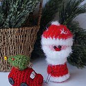 Мягкие игрушки ручной работы. Ярмарка Мастеров - ручная работа Дед Морозик и красная тачка. Handmade.