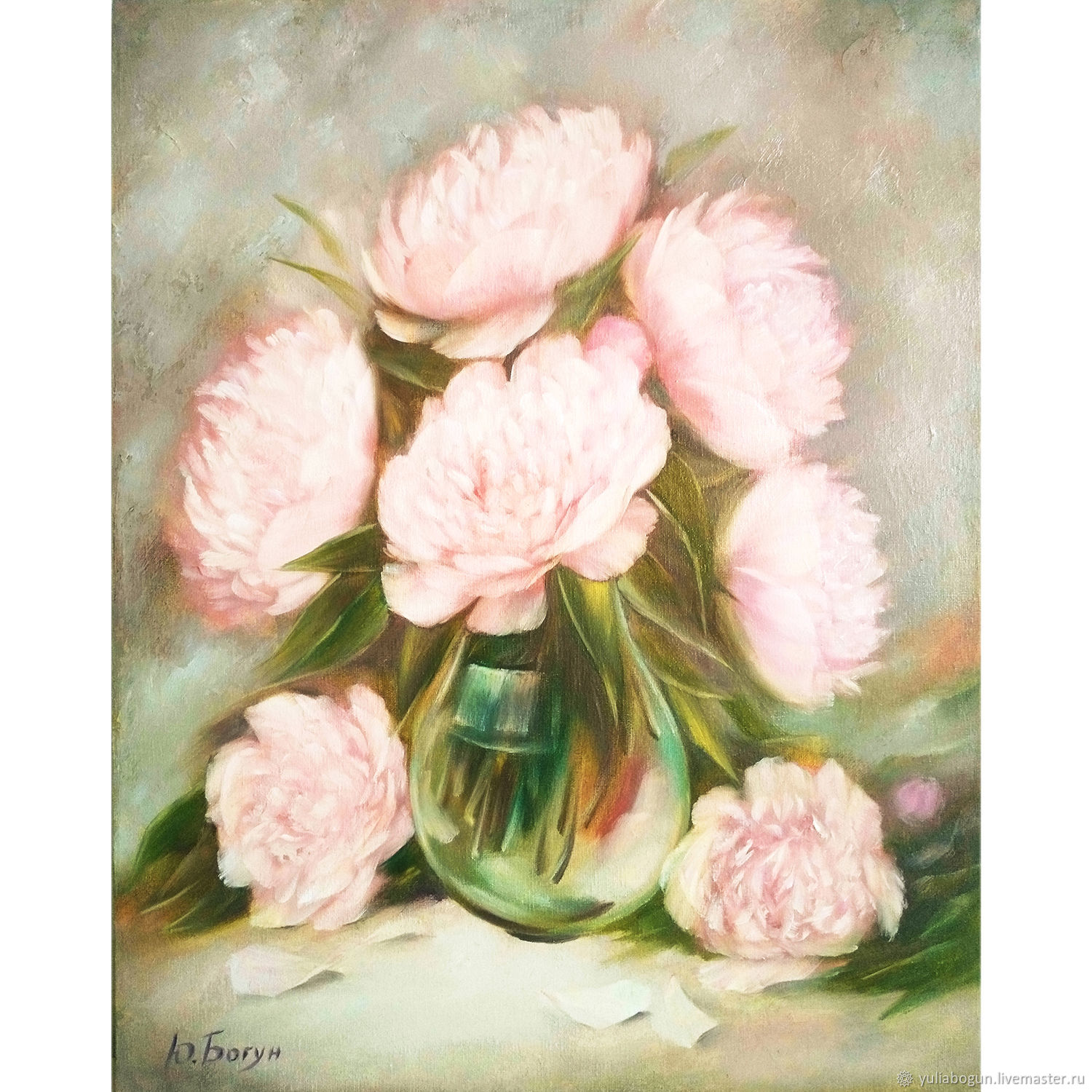 Oil painting peonies ' at dawn', Pictures, Belorechensk,  Фото №1