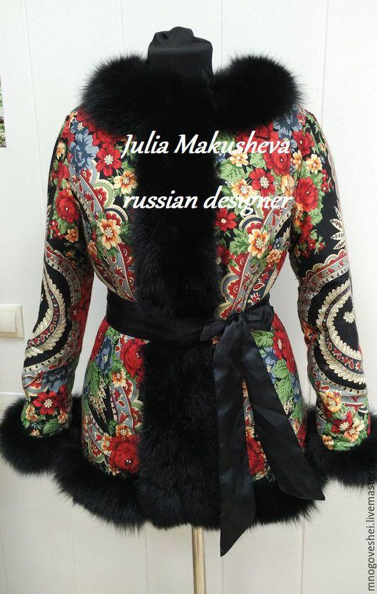 Верхняя одежда ручной работы. Ярмарка Мастеров - ручная работа. Купить Двухсторонняя зимняя куртка с мехом песца. Handmade. Черный