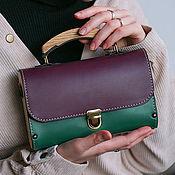 Сумки и аксессуары handmade. Livemaster - original item Leather and wood colorfull GF evening clutch bag. Handmade.