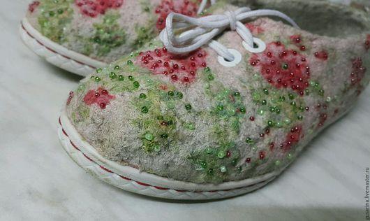 Туфли валяные летние `Цветущий сад`