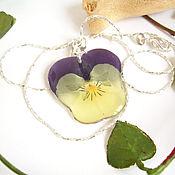 Украшения handmade. Livemaster - original item Real Flower Pendant Pansy Viola Boho Jewelry 3. Handmade.