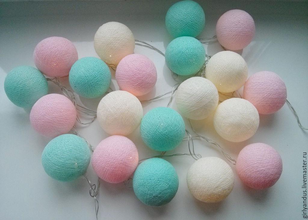 Цветные шары из ниток фото