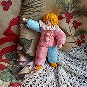 """Подарки к праздникам ручной работы. Ярмарка Мастеров - ручная работа Ватная елочная игрушка """"Арлекин"""" костюм розовый с голубым. Handmade."""