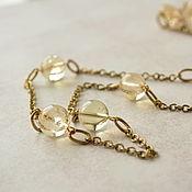 Украшения handmade. Livemaster - original item With pendant of citrine and brass Lemon tea. Handmade.