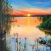 "Картины и панно handmade. Livemaster - original item Landscape Oil Painting on canvas - ""The unique July sunset"". Handmade."