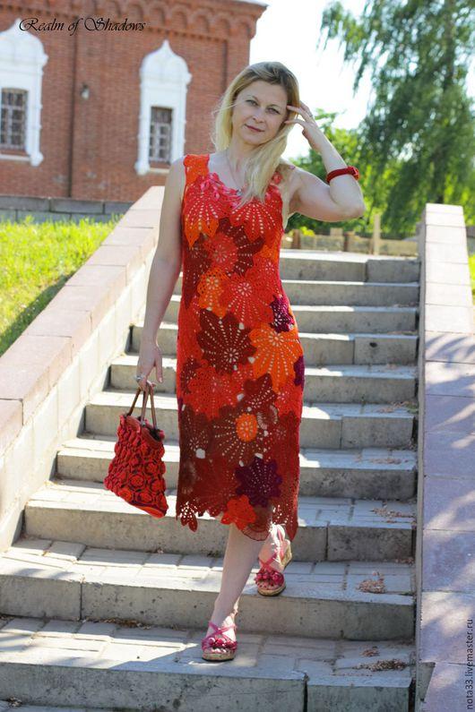 """Платья ручной работы. Ярмарка Мастеров - ручная работа. Купить Платье """"Листья"""". Handmade. Вязаное платье, ярко-красный"""